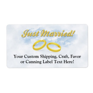 Just Married, Two Gold Bands/Clouds Shipping Label