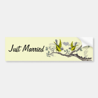 Just Married Vintage Yellow Winged Gray Birds Bumper Sticker