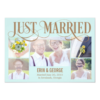 Just Married Wedding Announcement - Blue