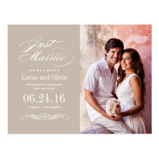Just Married Wedding Announcements | Beige Taupe Postcard