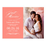 Just Married Wedding Announcements | Coral Pink Post Cards