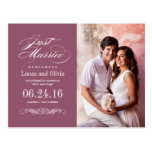 Just Married Wedding Announcements   Wine Red Postcard