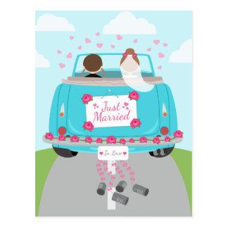 Just Married Wedding Car Blue Wedding Announcement Postcard