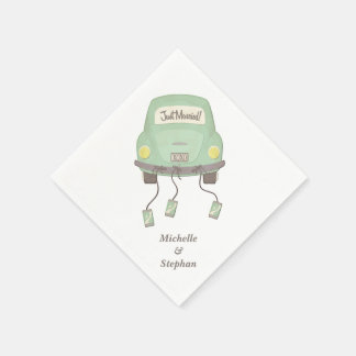 Just Married Wedding Car Disposable Serviettes