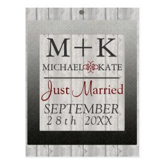 Just Married wedding decor barn wood Postcard