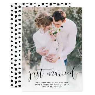 Just Married | Wedding Photo Elopement Card