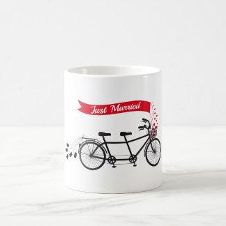 Just married, wedding tandem bicycle mugs