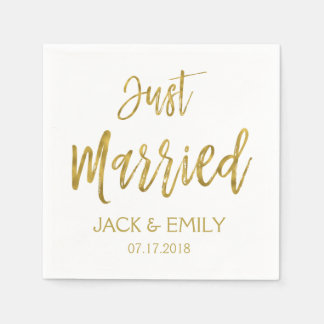 Just Married White and Gold Foil Napkins Disposable Serviettes