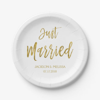 Just Married White and Gold Foil Paper Plates