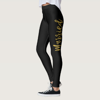Just Married White & Gold Faux Foil Yoga Pants