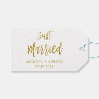 Just Married White & Gold Foil Polka Dots Gift Tags