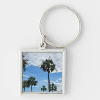 Just Palm Trees Silver-Colored Square Key Ring