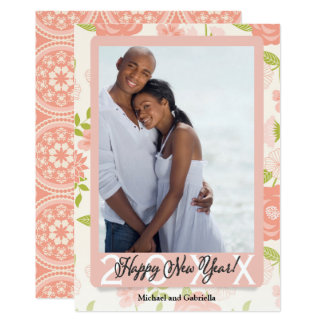 Just Peachy | Floral Happy New Year Add Your Photo Card