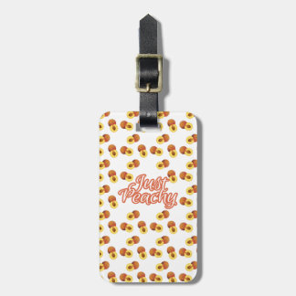 """Just Peachy"" Typography on Peach Pattern Luggage Tag"