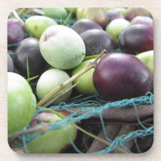 Just picked olives on the net during harvest time drink coaster