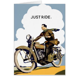 Just Ride Classic Motorcycle Vintage Birthday Card