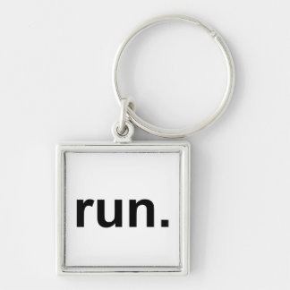 Just Run Silver-Colored Square Key Ring