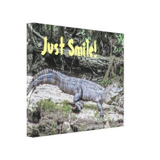 Just Smile Alligator Nature Quote Canvas Print