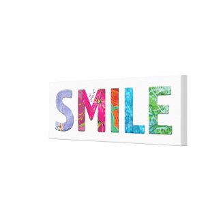 Just Smile Happy Quote #03 Gallery Wrapped Canvas
