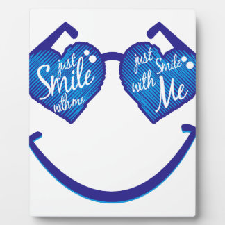 just smile with me, love and glases photo plaques