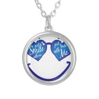 just smile with me, love and glases silver plated necklace