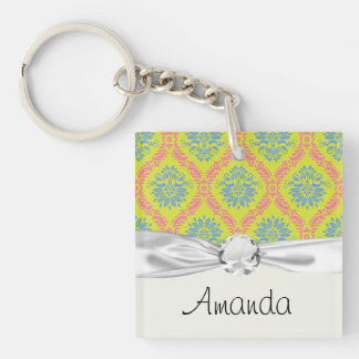 just some funky damask Double-Sided square acrylic keychain