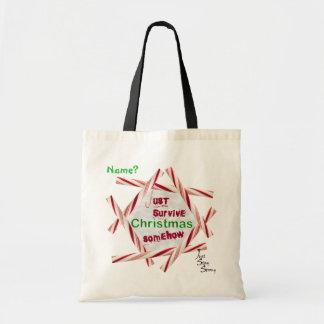 Just Survive Christmas Satire Budget Tote Bag