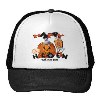 Just Too Cute Bulldog Puppy Peeking Out of Pumpkin Trucker Hats