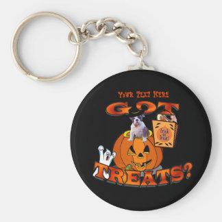 Just Too Cute Bulldog Puppy Peeking Out of Pumpkin Basic Round Button Key Ring