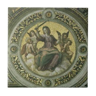 Justice by Raphael, Vintage Renaissance Art Ceramic Tile