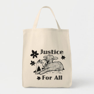 Justice for All Animal Rights Grocery tote bag
