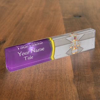 JUSTICE,GOLD SCALES OF LAW,ATTORNEY Purple Grey Nameplate