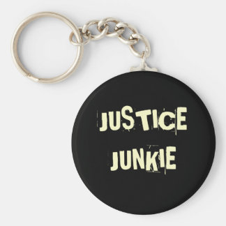 Justice Junkie - Funny Lawyer Name Basic Round Button Key Ring