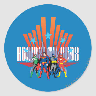 "Justice League ""Against All Odds"" Classic Round Sticker"