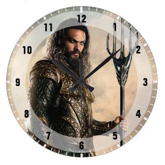 Justice League   Aquaman On Battlefield Large Clock