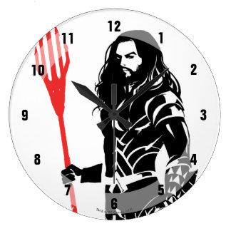 Justice League   Aquaman Pose Noir Pop Art Large Clock