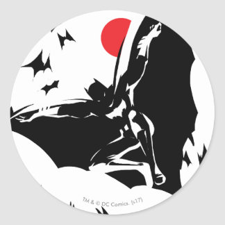 Justice League | Batman in Cloud of Bats Pop Art Classic Round Sticker