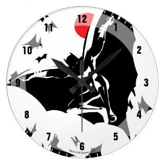 Justice League   Batman in Cloud of Bats Pop Art Large Clock
