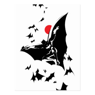 Justice League | Batman in Cloud of Bats Pop Art Postcard