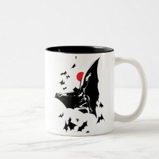 Justice League | Batman in Cloud of Bats Pop Art Two-Tone Coffee Mug