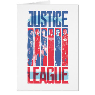 Justice League | Blue & Red Group Pop Art Card