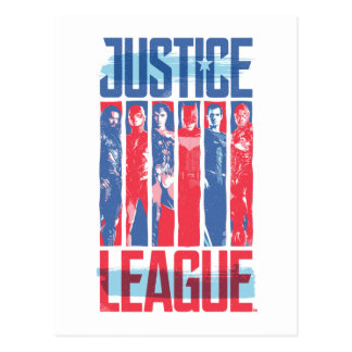 Justice League | Blue & Red Group Pop Art Postcard