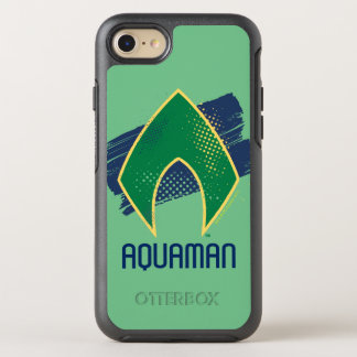 Justice League | Brush & Halftone Aquaman Symbol OtterBox Symmetry iPhone 8/7 Case
