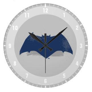 Justice League   Brush & Halftone Batman Symbol Large Clock