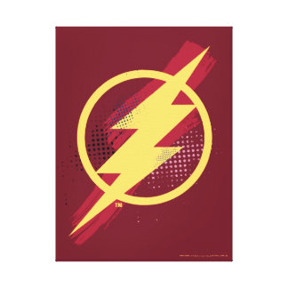 Justice League | Brush & Halftone Flash Symbol Canvas Print