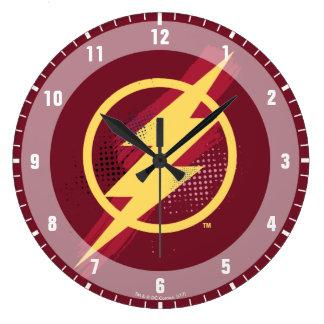 Justice League   Brush & Halftone Flash Symbol Large Clock