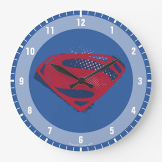 Justice League   Brush & Halftone Superman Symbol Large Clock
