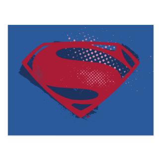 Justice League | Brush & Halftone Superman Symbol Postcard