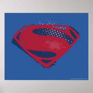 Justice League | Brush & Halftone Superman Symbol Poster