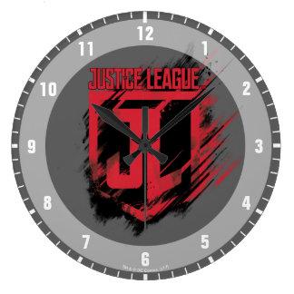 Justice League   Brushed Paint JL Shield Large Clock